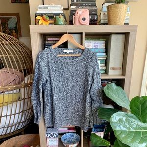 LOFT Grey Cable Knit Sweater
